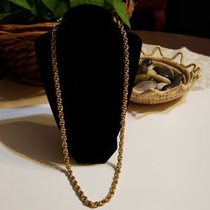Trifari Signed French Braided Rope Gold Necklace